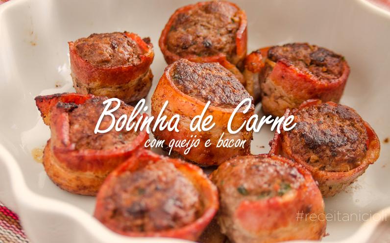 Bolinha de Carne com Queijo e Bacon