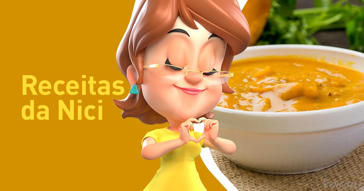 Sopa de Abóbora Cabotiá com Carne