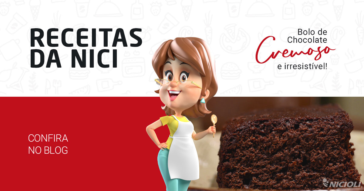 Bolo de chocolate cremoso e irresistível
