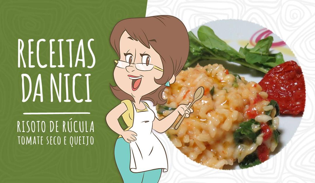 Risoto de rúcula, tomate seco e queijo